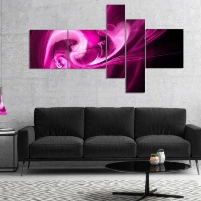 Designart Colored Smoke Spiral Purple Multipanel Abstract Canvas Art Print - 5 Panels
