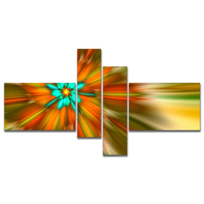 Designart Rotating Bright Fractal Flower Multipanel Abstract Canvas Art Print - 4 Panels