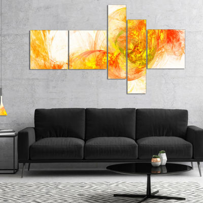 Designart Colored Smoke Yellow Multipanel AbstractCanvaS Art Print - 5 Panels