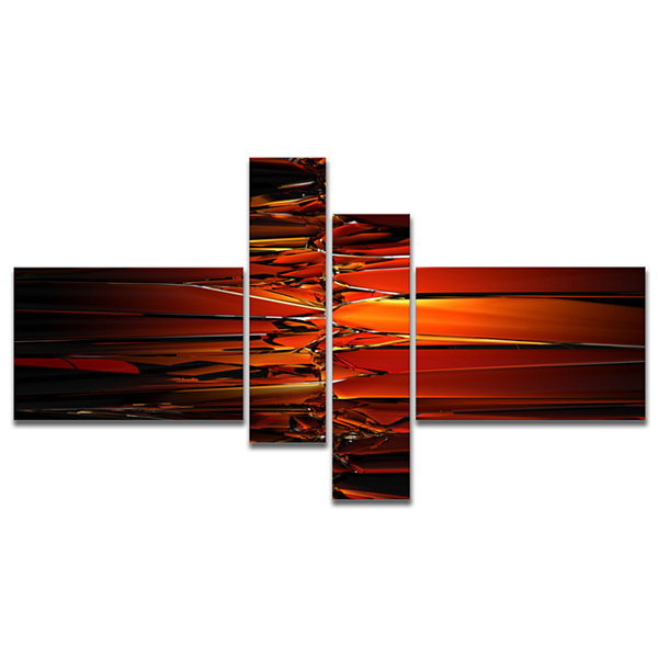 Designart Colorful Abstract Glass Design Multipanel Abstract Canvas Art Print - 4 Panels