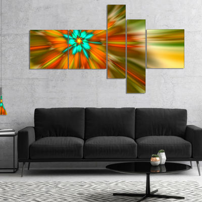 Designart Rotating Bright Fractal Flower Multipanel Abstract Canvas Art Print - 5 Panels