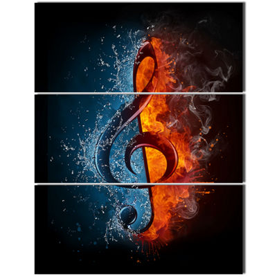 Designart Treble Clef Abstract Canvas Art Print -3Panels