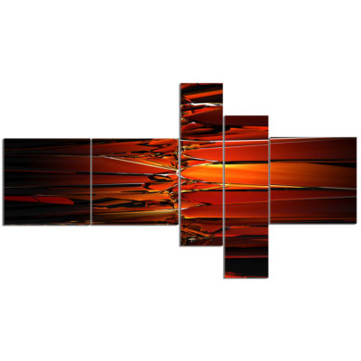 Designart Colorful Abstract Glass Design Multipanel Abstract Canvas Art Print - 5 Panels
