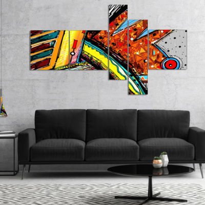 Designart Colorful Abstract Illustration Multipanel Abstract Canvas Art Print - 4 Panels