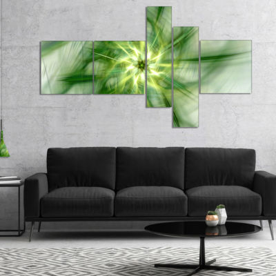 Designart Rotating Bright Green Flower MultipanelAbstract Canvas Art Print - 5 Panels