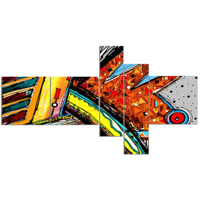 Designart Colorful Abstract Illustration Multipanel Abstract Canvas Art Print - 5 Panels