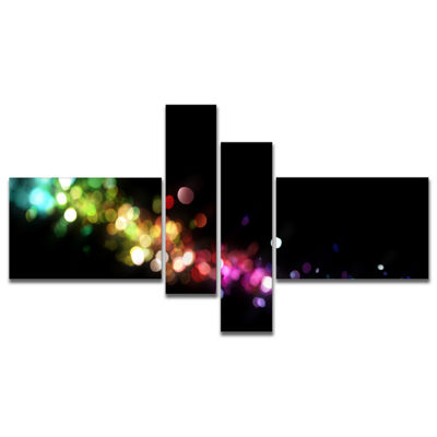 Designart Colorful Abstract Lighting Multipanel Abstract Canvas Art Print - 4 Panels