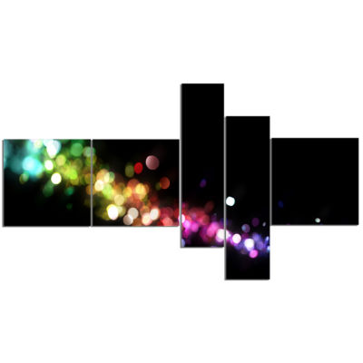 Design Art Colorful Abstract Lighting Multipanel Abstract Canvas Art Print - 5 Panels