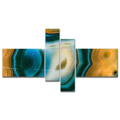 Designart Colorful Agate Pattern Multipanel Abstract Canvas Wall Art Print - 4 Panels