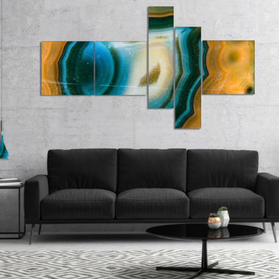 Designart Colorful Agate Pattern Multipanel Abstract Canvas Wall Art Print - 5 Panels