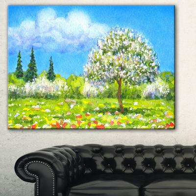 Designart Tree In Different Seasons Watercolor Landscape Canvas Art Print - 3 Panels