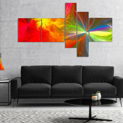 Designart Colorful Christmas Spectacular Show Multipanel Abstract Canvas Art Print - 5 Panels