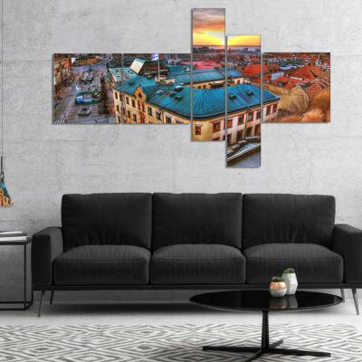Designart Colorful City Landscape Multipanel Cityscape Canvas Art Print - 5 Panels