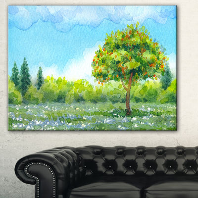 Designart Tree In Spring Watercolor Painting Landscape Canvas Print - 3 Panels