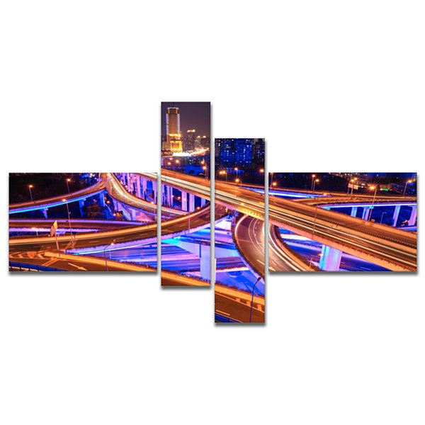 Designart Colorful City Overpass At Night Multipanel Cityscape Canvas Art Print - 4 Panels
