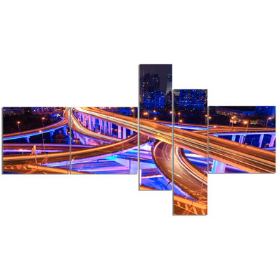 Designart Colorful City Overpass At Night Multipanel Cityscape Canvas Art Print - 5 Panels