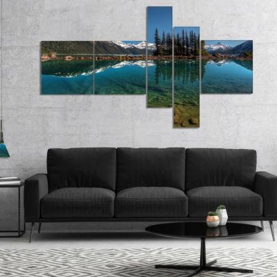 Designart Row Of Pine Trees And Mountain Lake Multipanel Landscape Canvas Art Print - 4 Panels