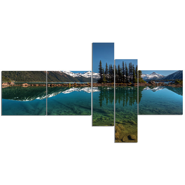 Designart Row Of Pine Trees And Mountain Lake Multipanel Landscape Canvas Art Print - 5 Panels