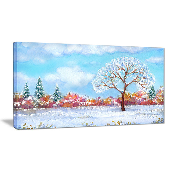 Designart Tree In Winter Watercolor Painting Landscape Canvas Print