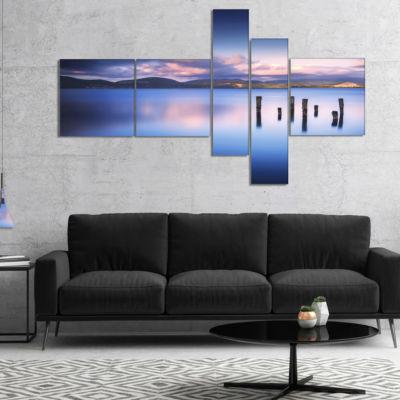 Designart Colorful Clouds At Sunset Multipanel Seascape Canvas Art Print - 5 Panels