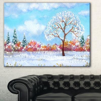 Designart Tree In Winter Watercolor Painting Landscape Canvas Print - 3 Panels