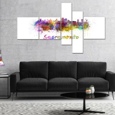 Designart Sacramento Skyline Multipanel CityscapeCanvas Artwork Print - 5 Panels