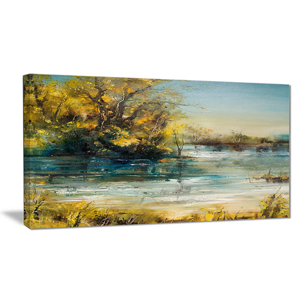 Designart Trees By The Lake Landscape Art Print Canvas