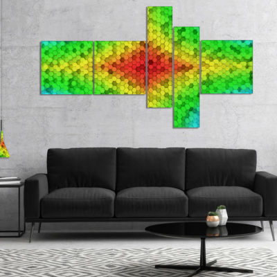 Designart Colorful Elevated Hexagon Columns Multipanel Abstract Art On Canvas - 5 Panels
