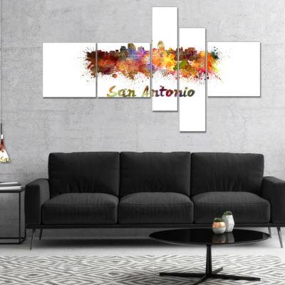 Designart San Antonio Skyline Multipanel CityscapeCanvas Artwork Print - 4 Panels