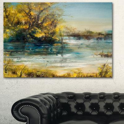 Designart Trees By The Lake Landscape Art Print Canvas - 3 Panels