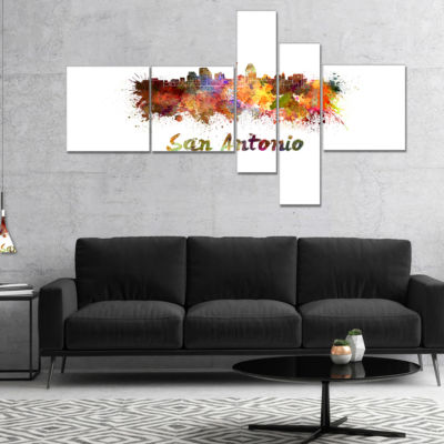 Designart San Antonio Skyline Multipanel CityscapeCanvas Artwork Print - 5 Panels