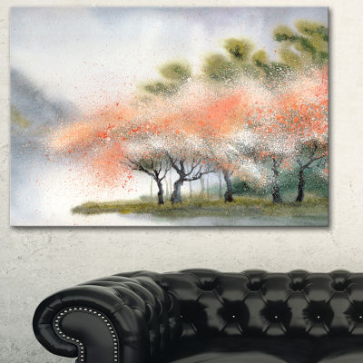 Designart Trees With Flowers Near River LandscapeArt Print Canvas