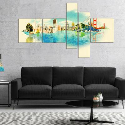 Designart San Francisco Panoramic View MultipanelCityscape Watercolor Canvas Print - 4 Panels