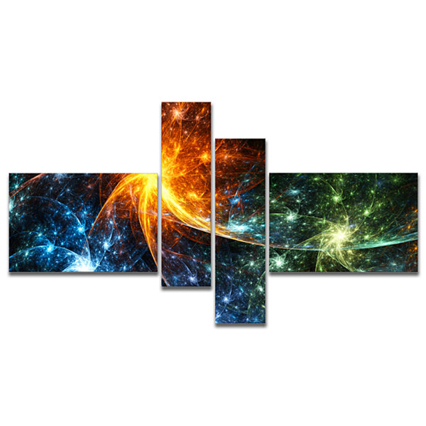 Designart Colorful Fireworks With Stars MultipanelAbstract Canvas Art Print - 4 Panels