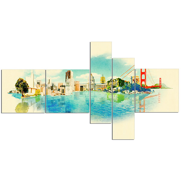 Designart San Francisco Panoramic View MultipanelCityscape Watercolor Canvas Print - 5 Panels