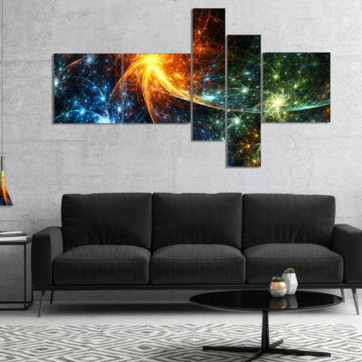 Designart Colorful Fireworks With Stars MultipanelAbstract Canvas Art Print - 5 Panels