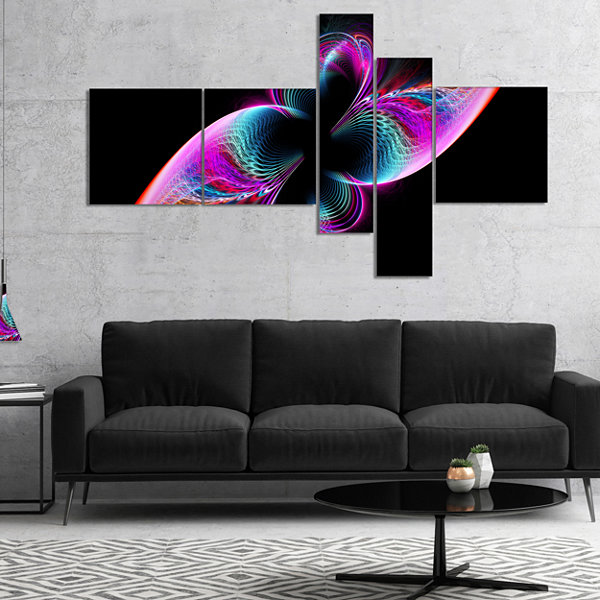 Designart Colorful Flower Fractal Rainbow Multipanel Abstract Art On Canvas - 5 Panels