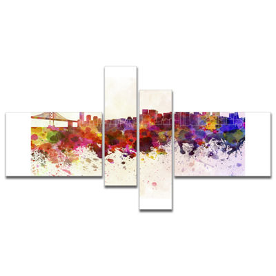 Designart San Francisco Skyline Multipanel LargeCityscape Canvas Artwork Print - 4 Panels