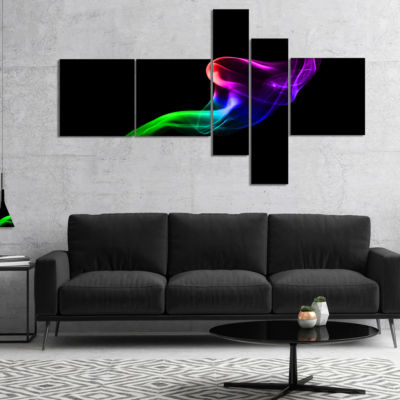 Designart Colorful Fractal Fire Design On Black Multipanel Abstract Canvas Wall Art - 5 Panels