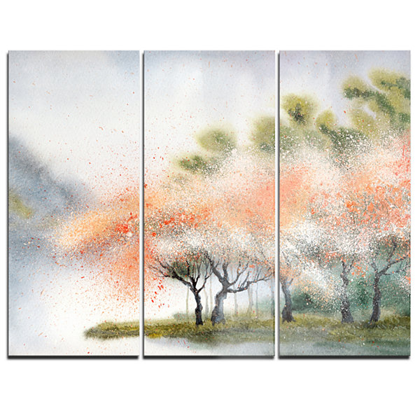 Designart Trees With Flowers Near River LandscapeArt Print Canvas - 3 Panels