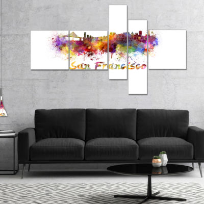 Designart San Francisco Skyline Multipanel PurpleMultipanel Cityscape Canvas Artwork Print - 5 Panels