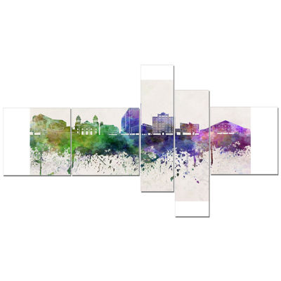 Designart San Jose Skyline Multipanel Cityscape Canvas Artwork Print - 5 Panels