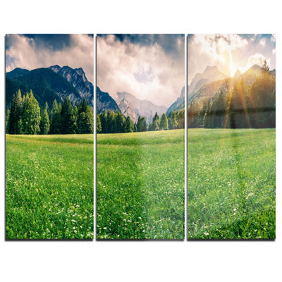 Designart Triglav Mountain Panorama Landscape Photography Canvas Print - 3 Panels