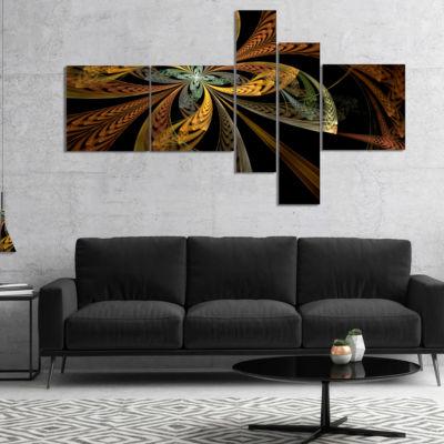 Designart Colorful Fractal Flower Pattern Multipanel Abstract Canvas Art Print - 5 Panels
