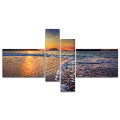 Designart Sandy Beach With Rush Waves MultipanelSeashore Canvas Art Print - 4 Panels