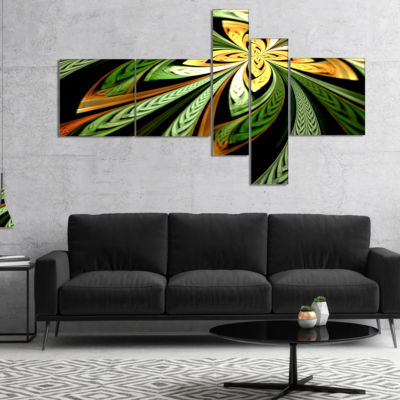 Designart Colorful Fractal Flower Pattern Multipanel Abstract Canvas Print Art - 5 Panels