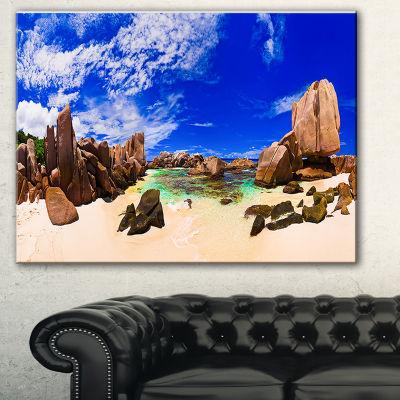Designart Tropical Beach At Seychelles Lanscape Photography Canvas Print - 3 Panels