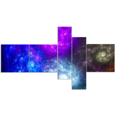 Designart Colorful Fractal Rotating Galaxies Multipanel Abstract Wall Art Canvas - 5 Panels