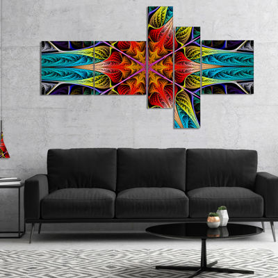 Designart Colorful Fractal Stained Glass Multipanel Abstract Canvas Art Print - 4 Panels