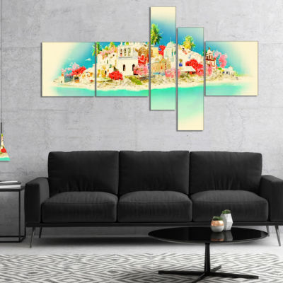 Designart Santorini Panoramic View Multipanel Cityscape Watercolor Canvas Print - 5 Panels